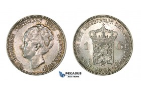 H50, Netherlands, Wilhelmina, Gulden 1922, Silver, Mint Lustre, TOP Grade!