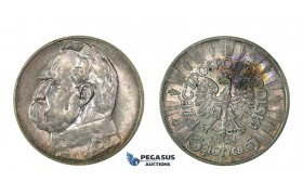 "H54, Poland, 5 Zlotych 1936 ""Jozef Pilsudski"" Silver, Mint Lustre, TOP Grade!"
