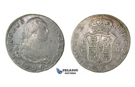 H58, Spain, Charles IV, 4 Reales 1796 M/MF, Madrid, Silver, Nice coin!