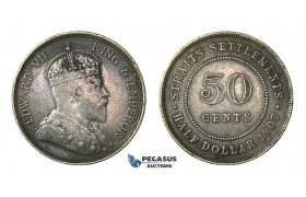 H62, Straits Settlements, Edward VII, 50 Cents 1907-H, Heaton, Dark Toning!