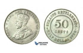 H63, Straits Settlements, George V, 50 Cents 1920, Silver, High Grade!