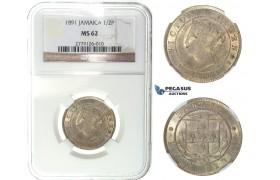 I20, Jamaica, Victoria, 1/2 Penny 1891, NGC MS62