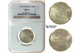I25, Palestine 50 Mils 1935, Silver, NGC MS63