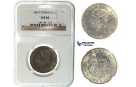 I27, Romania, Carol I, 2 Lei 1881-V, Vienna, Silver, NGC MS62, Very Dark Toning!