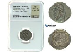 I29, Parthia, Mithradates II (123-88 BC) AR Drachm (4.07 g) Rhagai Mint, NGC AU