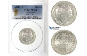 I31, Afghanistan, Abdur Rahman, Rupee AH1315, Silver, PCGS MS64