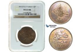 I38, Ottoman Empire, Egypt, Abdülaziz, 10 Para AH1277/7, Misr, NGC MS63RB