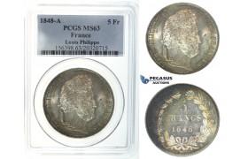 I42, France, Louis Philippe, 5 Francs 1848-A, Paris, Silver, PCGS MS63
