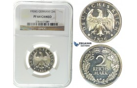 I44, Germany, Weimar, 2 Reichsmark 1926-G, Karlsruhe, Silver, NGC PF64 Cameo