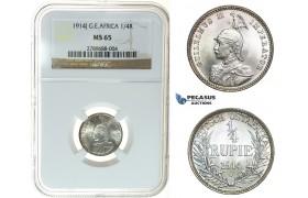 I45, German East Africa (DOA) Wilhelm II, 1/4 Rupie 1914-J, Hamburg, Silver, NGC MS65 (Pop 1/1) Rare!