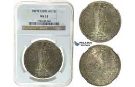 I48, Great Britain, Trade Dollar 1897-B, Bombay, Silver, NGC MS63