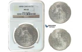 I49, Great Britain, Trade Dollar 1899-B, Bombay, Silver, NGC MS63