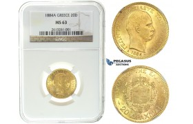 I50, Greece, George I, 20 Drachmai 1884-A, Gold, NGC MS63