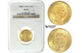 I50, Greece, George I, 20 Drachmai 1884-A, Gold, NGC MS63