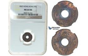 I51, Hong Kong, Victoria, 1 Mil 1863, NGC MS64RB
