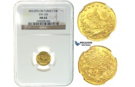 I57, Ottoman Empire, Turkey, Abdülhamid II, 25 Kurush AH1293/30, Gold, NGC MS65 (Pop 1/1)