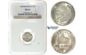 I61, France, Napoleon III, 20 Centimes 1867-BB, Strasbourg, Silver, NGC MS64