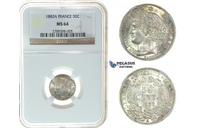 I64, France, 3rd Republic, 50 Centimes 1882-A, Paris, Silver, NGC MS64