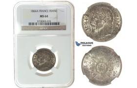 I65, France, Napoleon III, Franc 1866-A, Paris, Silver, NGC MS64