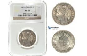I66, France, 3rd Republic, 2 Francs 1887-A, Paris, Silver, NGC MS63