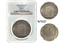 I67, France, 2nd Republic, 5 Francs 1848-A, Paris, Silver, NGC MS64