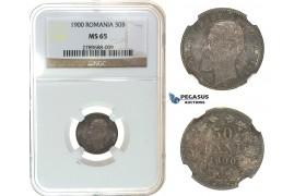 I69, Romania, Carol I, 50 Bani 1900, Hamburg, Silver, NGC MS65, Dark Toning!
