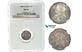 I70, South Africa (ZAR) Threepence (3 Pence) 1896, Silver, NGC MS64, Rare Grade!