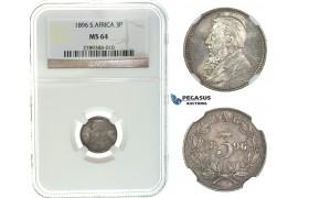 I70, South Africa (ZAR) Threepence (3 Pence) 1896, Silver, NGC MS64, Rare Grade!