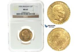 I75, Uruguay, 5 Pesos 1930, Gold, NGC MS63