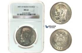I82, Russia, Nicholas II, Rouble 1897 (АГ) Silver, NGC MS62
