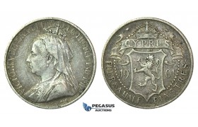 J01, Cyprus, Victoria, 4 1/2 Piastres 1901, Silver, Original Toning!