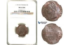J03, France, 1st Republic, 5 Centimes L'An 4-A, Paris, NGC MS63BN (Only one better)
