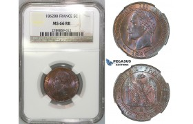 J05, France, Napoleon III, 5 Centimes 1862-BB, Strasbourg, NGC MS66RB (Pop 1/1, best)