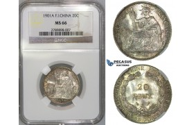 J06, French Indo-China (Vietnam) 20 Centimes 1901-A, Paris, Silver, NGC MS66 (Pop 1/1, Best!)