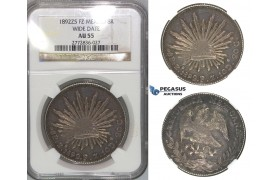 "J10, Mexico, 8 Reales 1892-Zs FZ, Zacatecas ""Wide Date"" Silver, NGC AU55"