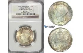 J13, Romania, Mihai I, 250 lei 1941 (TPT) Silver, NGC MS61
