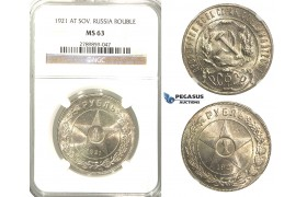 J22, Soviet Union (RSFSR) Rouble 1921, Silver, NGC MS63