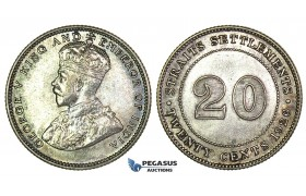 J25, Straits Settlements, George V, 20 Cents 1926, Silver, Toned TOP Grade!