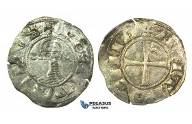 J28, Crusaders, Antioch. Bohémond III, (1163-1201) AR Denier (0.93g) Struck ca. 1163-88