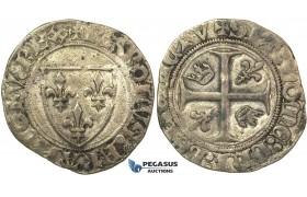 J34, France, Charles VI (1380-1422) Blanc Guénar, 4th emission, Saint-Pourçain, Silver (3.07g) Nice!