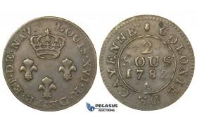 J46, French Guyana, Cayenne, 2 Sous 1782-A, Paris, Very nice!