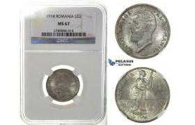J56, Romania, Carol I, Leu 1914, Brussels, Silver, NGC MS67 (Pop 1/1, best!)