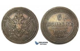 J57, Russia, Alexander I, 5 Kopeks 1803 EM, Ekaterinburg, Very Nice!