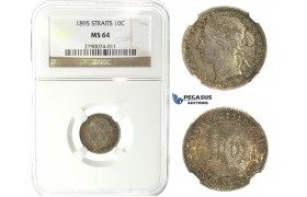 J61, Straits Settlements, Victoria, 10 Cents 1895, Silver, NGC MS64, Rare Grade!