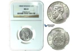 J72, Romania, Carol I, 1 Leu 1884, Bucharest, Silver, NGC MS63