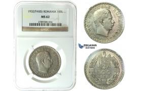 J76, Romania, Carol II, 100 Lei 1932, Paris, Silver, NGC MS62
