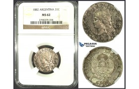 J78, Argentina, 20 Centavos 1882, Silver, NGC MS62