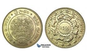 J83, Ceylon, 5 Rupees 1957 (2500 Years Buddhism) Silver, TOP Grade!