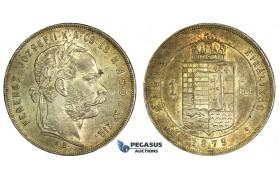 J89, Hungary, Franz Joseph, 1 Forint 1879-KB, Kremnitz, Silver, Toned High Grade!