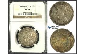 J93, India, British, Victoria, Rupee 1890-B, Bombay, Silver, NGC MS62
